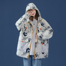 short coat Spring 2021 M L XL 2XL 3XL White blue Long sleeves routine routine singleton  Straight cylinder commute routine Hood zipper other 18-24 years old Misbehaving 96% and above printing WX20WT9519 polyester fiber Polyester 100% Pure e-commerce (online only)