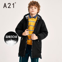 Down Jackets 110cm 120cm 130cm 140cm 150cm 160cm 80% Grey duck down Child male A21 black polyester Medium length No detachable cap Zipper shirt Solid color R493315002 Class C Polyester 100% Polyester 100% Autumn of 2019 leisure time Chinese Mainland
