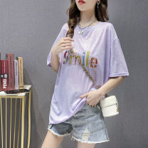 T-shirt Pink White Purple Average size Summer 2021 Short sleeve Crew neck easy Regular routine commute other 51% (inclusive) - 70% (inclusive) 18-24 years old Korean version originality letter Yinwei cs084 printing Pure e-commerce (online only)