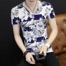 T-shirt Youth fashion Bamboo leaf black short sleeve routine XXL JLJC TNM-HUA123 Polyester 95% polyurethane elastic fiber (spandex) 5% Spring of 2018