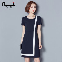Dress Summer of 2019 Black Navy S M L XL XXL XXXL Mid length dress singleton  Short sleeve commute Crew neck middle-waisted Solid color Socket One pace skirt routine 30-34 years old Type H Ni / Nijia Ol style Stitched asymmetric zipper 51% (inclusive) - 70% (inclusive) polyester fiber