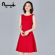 Dress Summer 2021 Red black pre-sale 7 days or so hair S M L XL XXL Mid length dress singleton  Sleeveless commute Crew neck middle-waisted Solid color zipper other routine 30-34 years old Type A Ni / Nijia Ol style zipper 18L2138 51% (inclusive) - 70% (inclusive) polyester fiber