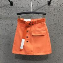 skirt Summer 2020 S,M,L,XL Orange, white, black Short skirt commute High waist skirt Solid color Type H 2032# 81% (inclusive) - 90% (inclusive) Denim Other / other cotton Button, patch Korean version