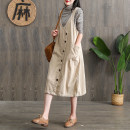 Dress Spring 2021 red , black , Beige , Coffee Average size Mid length dress singleton  Sleeveless commute V-neck Loose waist Solid color Single breasted A-line skirt other straps 30-34 years old Type H Sheng Guan literature pocket , tie-dyed , straps , Button More than 95% corduroy cotton