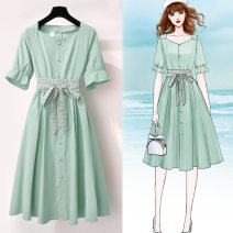 Dress Summer 2021 Green, orange S,XL,L,M,XXL Mid length dress singleton  Short sleeve commute Solid color Socket A-line skirt routine Others 18-24 years old 71% (inclusive) - 80% (inclusive) other