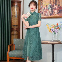 cheongsam Spring 2021 S M L XL XXL 3XL 4XL Tether black lace orday tether green lace orday Short sleeve long cheongsam grace Low slit daily Oblique lapel Decor 18-25 years old Piping HSC4267 Red house polyester fiber Polyester 92% polyurethane elastic fiber (spandex) 8% Pure e-commerce (online only)