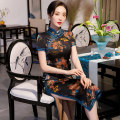 cheongsam Spring 2021 M L XL XXL 3XL 4XL M medium length wide edge blue edge Short sleeve long cheongsam Retro High slit daily Oblique lapel Decor 25-35 years old Piping HSC4091 Red house polyester fiber Polyester 92% polyurethane elastic fiber (spandex) 8% Exclusive payment of tmall