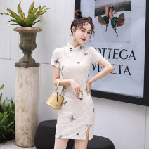 cheongsam Summer 2020 S M L XL XXL 3XL ZZ white butterfly ZZ Black Butterfly ZZ Green Butterfly Short sleeve Short cheongsam ethnic style High slit daily Oblique lapel Animal design 18-25 years old Piping HSD3551 Red house polyester fiber Polyester 92% polyurethane elastic fiber (spandex) 8%