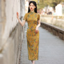 cheongsam Spring 2021 S M L XL XXL 3XL 4XL Short sleeve long cheongsam grace High slit daily Oblique lapel Decor 18-25 years old Piping Red house polyester fiber Polyester 92% polyurethane elastic fiber (spandex) 8% Pure e-commerce (online only)