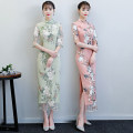 cheongsam Winter of 2018 S M L XL XXL 3XL Mr long light green embroidered lace Mr Long Pink Embroidered Lace three quarter sleeve long cheongsam grace High slit daily Oblique lapel Decor 18-25 years old Piping HSC1242 Red house polyester fiber Polyester 92% polyurethane elastic fiber (spandex) 8%