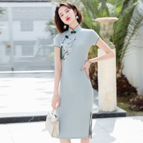 cheongsam Spring 2020 S M L XL XXL 3XL Pink Medium Blue hand painted J Short sleeve Short cheongsam Retro Low slit daily Oblique lapel Solid color 18-25 years old Piping HSD2360 Red house polyester fiber Polyester 92% polyurethane elastic fiber (spandex) 8% Exclusive payment of tmall