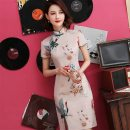 cheongsam Summer of 2019 S M L XL XXL 3XL Short sleeve Short cheongsam grace Low slit daily Oblique lapel Decor 18-25 years old Piping HSD1241 Red house polyester fiber Polyester 92% polyurethane elastic fiber (spandex) 8% Pure e-commerce (online only)