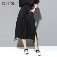 skirt Summer 2020 M L XL black Mid length dress street Natural waist A-line skirt Solid color Type A 25-29 years old BM8790- More than 95% Sufengusa / Sufeng polyester fiber Pocket stitching Polyester 100% Pure e-commerce (online only) Europe and America