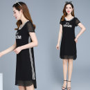 Dress Summer 2021 Black, blue M,L,XL,2XL,3XL,4XL Middle-skirt singleton  Short sleeve commute Doll Collar middle-waisted Solid color Socket One pace skirt routine Others 30-34 years old Other / other Korean version printing ZMBDX46