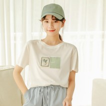 T-shirt Yellow floret, green floret Xs, s, m, l, XL, XXS genuine small 145-155 Summer 2021 Short sleeve Crew neck Self cultivation have cash less than that is registered in the accounts other commute other 96% and above 18-24 years old Korean version other Zhenyaluo