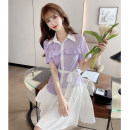 Dress Summer 2021 Lilac Xs, s, m, l, XL, 2XL, XXS legitimate smaller 140-160 Short skirt Two piece set Short sleeve commute Polo collar High waist Solid color Single breasted Irregular skirt routine Others 18-24 years old Type A Zhenyaluo Korean version Lotus leaf edge More than 95% other other