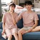Pajamas / housewear set lovers Brayenmo / Bain dream cotton Short sleeve Sweet summer Thin pajamas Crew neck Cartoon animation youth Condom Capris 2 pieces rubber string Knitted cotton fabric More than 95% printing BYMZ3114 200g and below Cotton 100% Summer 2020 Pure e-commerce (online sales only)