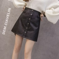skirt Autumn 2020 S M L XL XXL Black single layer black with anti running out shorts Short skirt Versatile High waist A-line skirt Solid color Type A 18-24 years old 1762 small side six button leather skirt More than 95% other Xiarnely / chanelli other Pocket zipper panel PU