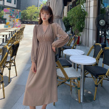 Women's large Spring 2021 Black Khaki apricot L XL S M Dress singleton  commute Self cultivation Socket Long sleeves Solid color Korean version V-neck other routine 6349ASCASCA Zhuo Ti fan 18-24 years old 96% and above Medium length Polyester 70% other 30% Pure e-commerce (online only)