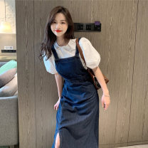 glove other White top + denim strap skirt single white top single denim strap skirt female S M L C8N3488 Zhuo Ti fan Summer 2021