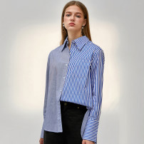 shirt [asymmetric stitching shirt] Small [in stock], large [in stock] Spring 2021 other 30% and below Long sleeves Sweet Regular square neck Single row multi button routine stripe 18-24 years old Straight cylinder Pocket, asymmetric, button college