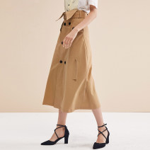 skirt Spring 2021 XS,S,M,L,XL [army green high waist skirt] longuette Versatile High waist A-line skirt Solid color Type A 18-24 years old 30% and below other cotton Lace up, button