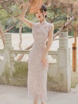 cheongsam Summer 2021 S,M,L Light pink Sleeveless long cheongsam Retro High slit daily Big flower Embroidery