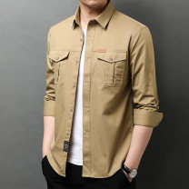 shirt Fashion City Zhengtian sheep 165/S 170/M 175/L 180/XL 185/XXL 190/XXXL Khaki black army green Navy routine Pointed collar (regular) Long sleeves standard daily spring ZTY111A116 youth Cotton 100% Military brigade of tooling 2021 Solid color Plaid Spring 2021 washing cotton Multiple pockets