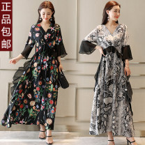 Dress Summer 2021 Black floret, grey leopard, black flower M,L,XL,2XL,3XL,4XL longuette singleton  elbow sleeve commute V-neck middle-waisted Broken flowers Socket Big swing pagoda sleeve Others Type H Other / other lady Stitching, buttons, 3D, printing LRLYWHSZM221 91% (inclusive) - 95% (inclusive)