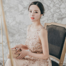 Dress / evening wear The annual meeting of the adult party company performs daily dating SMLXL Champagne evening dress Korean version longuette middle-waisted Spring of 2018 Self cultivation Hollowing out 26-35 years old L034 Solid color Mandarin Duck Pendant routine Other 100% other