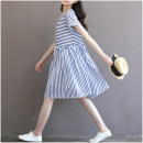 Dress Puff puff Blue and white M,L,XL other Short sleeve routine summer Crew neck stripe
