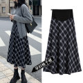 skirt Pregnant women's Plaid Skirt Medium length leisure time M,L,XL,XXL Four seasons Puff puff Black and white lattice 2166# polyester