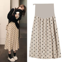 skirt WP001820 Medium length Versatile M,L,XL,XXL spring and autumn Puff puff Black, apricot Dot 911# Chiffon