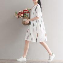 Dress Puff puff white M,L,XL other Short sleeve Medium length summer routine Decor Space cotton