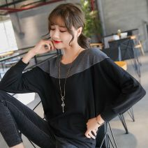 T-shirt Black grey splicing brown grey splicing M L XL 2XL 3XL 4XL Autumn of 2019 Long sleeves Crew neck easy Regular Bat sleeve commute cotton 86% (inclusive) -95% (inclusive) 30-39 years old Korean version other Solid color stitching Sapin language spy3011 Splicing Pure e-commerce (online only)
