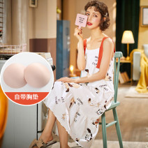 Pajamas / housewear set female A quiet companion M L XL H661558-1 cotton camisole Sweet Leisure home summer routine Crew neck other Socket youth 2 pieces More than 95% pure cotton printing H661558-1 Cotton 100% Summer 2020 Middle-skirt