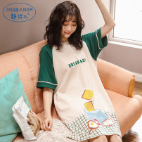 Nightdress A quiet companion M L XL XXL XXXL Sweet Short sleeve pajamas Middle-skirt summer Cartoon animation youth Crew neck cotton Mosaic decoration More than 95% pure cotton X1150 three animals 200g and below Spring of 2019 Cotton 100% Pure e-commerce (online only)
