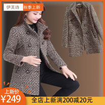short coat Autumn of 2018 M L XL 2XL 3XL 4XL 5XL 6XL Black and white color card Long sleeves Medium length routine singleton  Self cultivation routine tailored collar double-breasted lattice 40-49 years old Eve's Poems 51% (inclusive) - 70% (inclusive) Button QD-01 cotton Exclusive payment of tmall