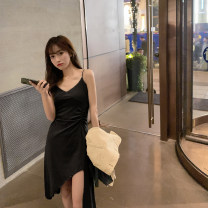Dress Spring 2020 Gray, black Average size Mid length dress singleton  Sleeveless commute V-neck High waist Solid color Socket Irregular skirt camisole 18-24 years old Type A WITH MX BOOM Korean version Asymmetry 31% (inclusive) - 50% (inclusive) other polyester fiber