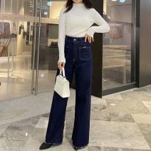 Jeans Autumn 2020 Denim XS,S,M,L trousers High waist Straight pants routine 8246258 8246 / two hundred and fifty-eight TRAF 96% and above