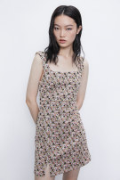Dress Summer 2020 Brown print S,M,L Short skirt singleton  street TRAF YL10S7BN2003 More than 95% Europe and America