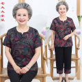 Middle aged and old women's wear Summer of 2019 Color 1, color 2, color 3, color 4, free freight insurance XL is suitable for 80-95 Jin, XXL is suitable for 95-115 Jin, XXXL is suitable for 115-130 Jin, 4XL is suitable for 125-140 Jin, 5XL is suitable for 135-150 Jin Happiness suit Straight cylinder