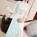 Dress Summer of 2019 White blue S M L XL XXL Mid length dress singleton  elbow sleeve commute stand collar High waist Solid color Socket Big swing routine Others 25-29 years old Type A Qingqiluo Retro Embroidered zipper QL9423 More than 95% Chiffon polyester fiber Polyester 100%