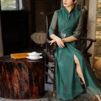 Hanfu 30% and below Spring 2021 Dark green white S M L XL 2XL nylon