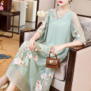 Dress Summer 2020 Pink Green S M L XL XXL Mid length dress singleton  elbow sleeve commute V-neck Loose waist Decor Socket A-line skirt other Others 25-29 years old Type A Qingqiluo Retro Embroidered stitching QL92945 30% and below other nylon Lyocell 71.7% polyamide 28.3%