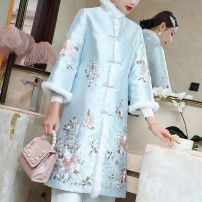 cheongsam Autumn 2020 S M L XL XXL White blue Long sleeves Short cheongsam Retro No slits daily Straight front Solid color 25-35 years old Embroidery Qingqiluo polyester fiber Polyester 100% Pure e-commerce (online only) 96% and above