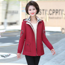 Middle aged and old women's wear Autumn of 2019 fashion Jacket / jacket easy singleton  Solid color 40-49 years old Cardigan moderate Hood Medium length (length 50-70cm) Yunzixuan belt polyester Polyester 100% 96% and above Pure e-commerce (online only) zipper