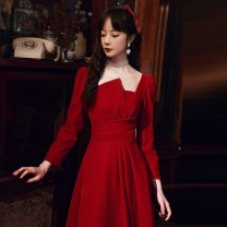Dress / evening wear Weddings, adulthood parties, company annual meetings, daily appointments XS S M L XL XXL fashion Medium length middle-waisted Winter 2020 A-line skirt square neck zipper 18-25 years old Long sleeves Solid color Huatangxiu routine Polyester 80% other 20%