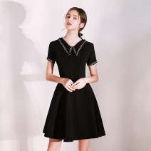 Dress / evening wear The company's annual convention performs daily appointments XS S M L XL XXL Black (htxa0495) fashion Short skirt middle-waisted Autumn of 2019 A-line skirt Deep collar V zipper 18-25 years old HTXA0495 Short sleeve Solid color Huatangxiu routine Polyester 80% other 20% other