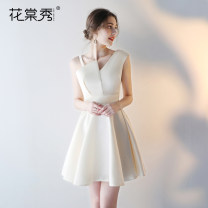 Dress / evening wear Wedding adult party company annual meeting performance XS S M L XL XXL Korean version Short skirt middle-waisted Spring of 2018 A-line skirt Single shoulder type zipper 18-25 years old Sleeveless Solid color Huatangxiu routine Polyester 80% other 20% Pure e-commerce (online only)